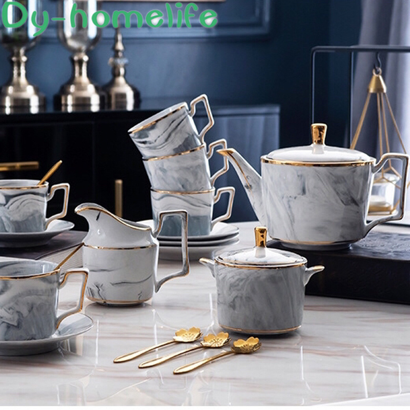Nordic 15-piece Gold Rim Grey Pink Marble Pattern Ceramic Coffee Tea Set Ins Network Creative Bone China Tea Set Pot Cup Saucer