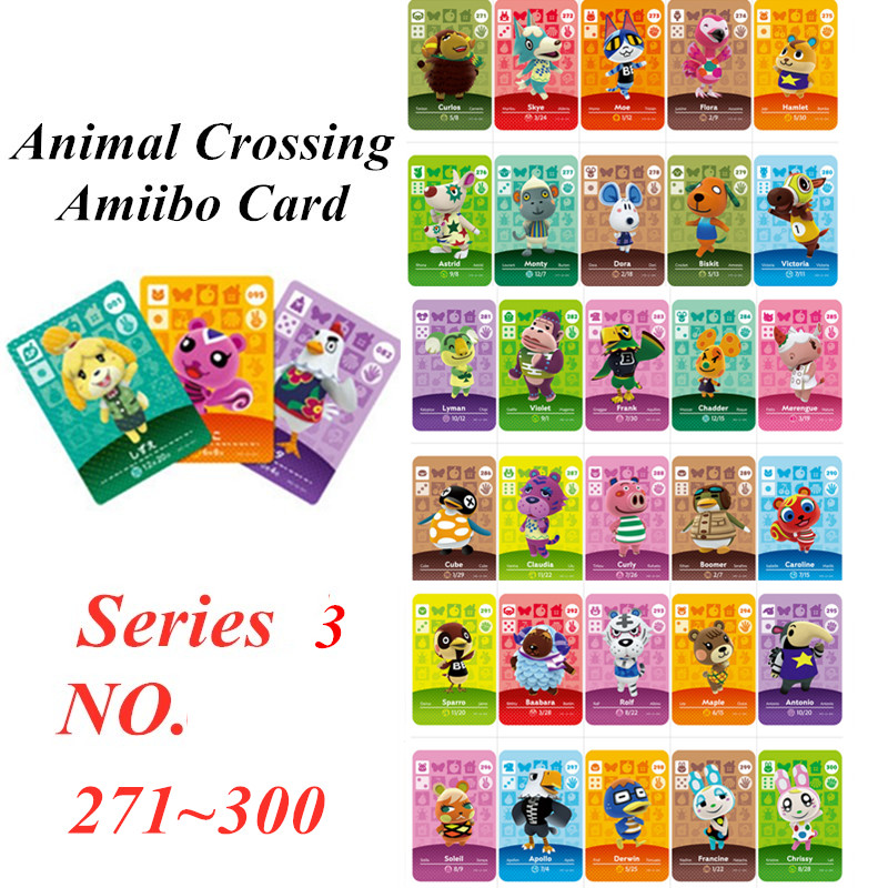Animal Crossing Card Amiibo NFC Card For Nintendo Switch NS Games Series 3  (271 To 300)