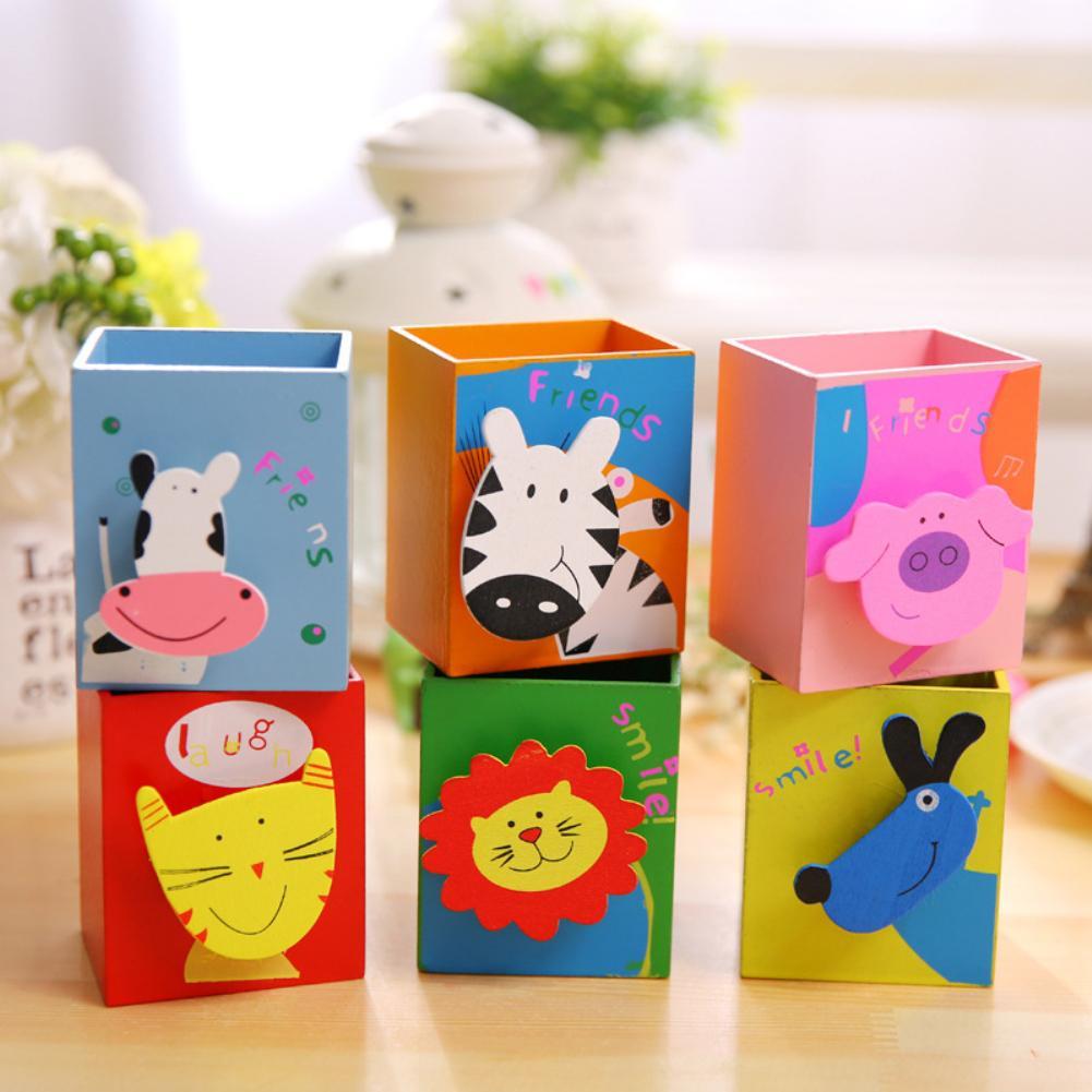 Fashion Children Cartoon Pig Animal Pattern Wooden Pen Container Pencil Holder