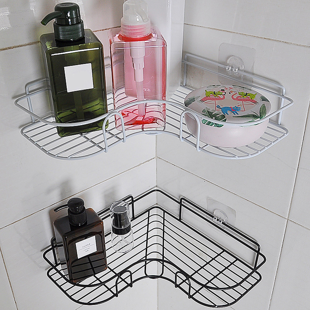 Punch Free Corner Bathroom Shelf Bathroom Organizer Fixtures Wrought Iron Storage Rack Kitchen Bathroom Accessories Wall Shelf