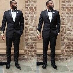 Abiti da Uomo Nero per La Cerimonia Nuziale Uomo Giacche su Ordine Dello Sposo di Smoking 2 Pezzi Slim Fit Costume Homme (Jacket + pant)