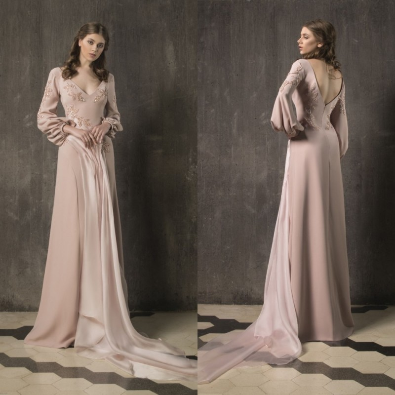 2020   Prom     Dresses   V-Neck Long Sleeves Lace Appliques Evening Gowns Custom Made Floor-Length Special Occasion   Dress