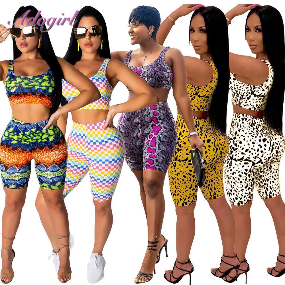 Women 2 Piece Outfits Leopard//Snakeskin Print Sleeveless Crop Top Shorts Set