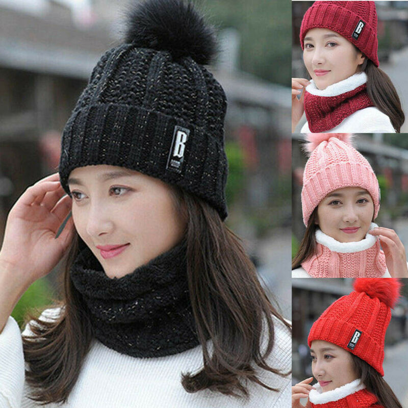 Unisex Beanie Scarf Set Men Women Winter Gear Hat Neckerchief Fleece Lining Knit Hats Warm Thick Winter Ski Caps