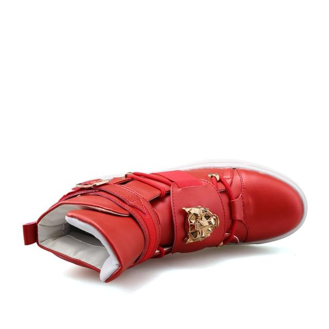 Los hombres de alta superior zapatillas de deporte de moda hebilla plataforma pisos botas Zapatos hombre exterior 4