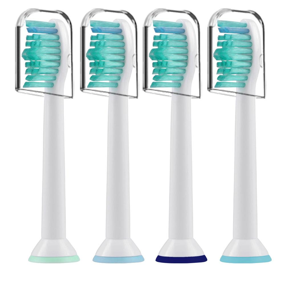 4pcs HX6014 Replaceable Toothbrush Heads For Philips Sonicare Oral Brush Heads Served With Cover Cap Proresults Soft Bristles image