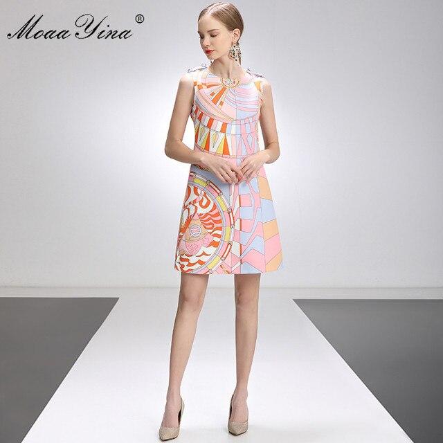 MoaaYina Fashion Designer Dress Summer Women's dress Sleeveless Beaded Geometry Print Short Dresses 3