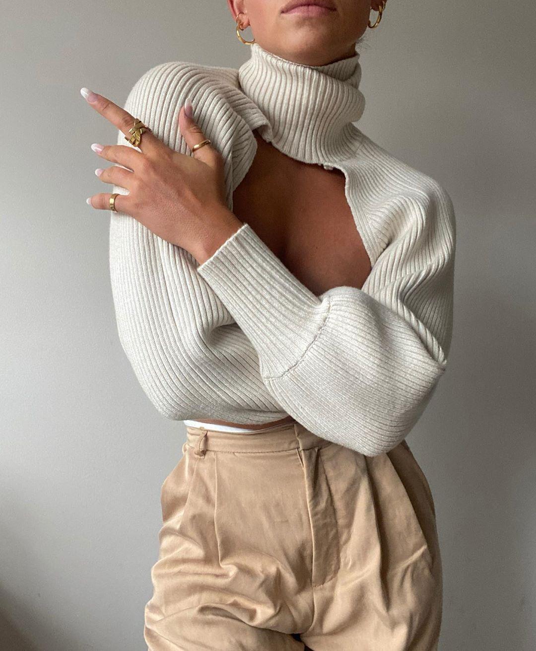 Женский свитер для девочек Однотонный свитер с высоким воротником и длинными пышными рукавами; Вязаный пуловер; Свитер для женщин, весенняя...