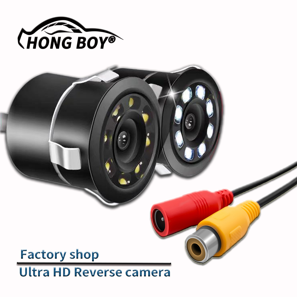 Free shipping HONGBOY car 8LED rear view camera HD color image video night vision 170 degree wide angle waterproof car camera