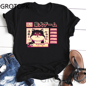 Women Harajuku Black T Shirt K