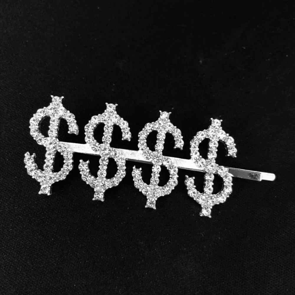 1PC ZIEL $/$$$$/BO $ $ Kristall Strass Brief Haarnadeln Metall Haar Clips Barrettes Headwear Haar styling Zubehör für Frauen