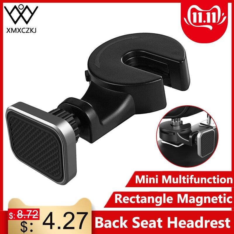 XMXCZKJ Magnetic Car Phone Holder Hook Back Seat Headrest 360 Rotation Tablet Holder For Phone Magnet Stand Holder Soporte Mount