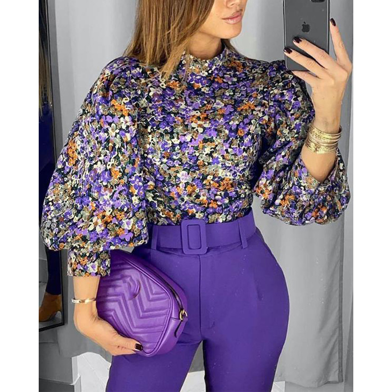 2020 New Fashion Vintage Women Blouse Floral Lantern Sleeve Top