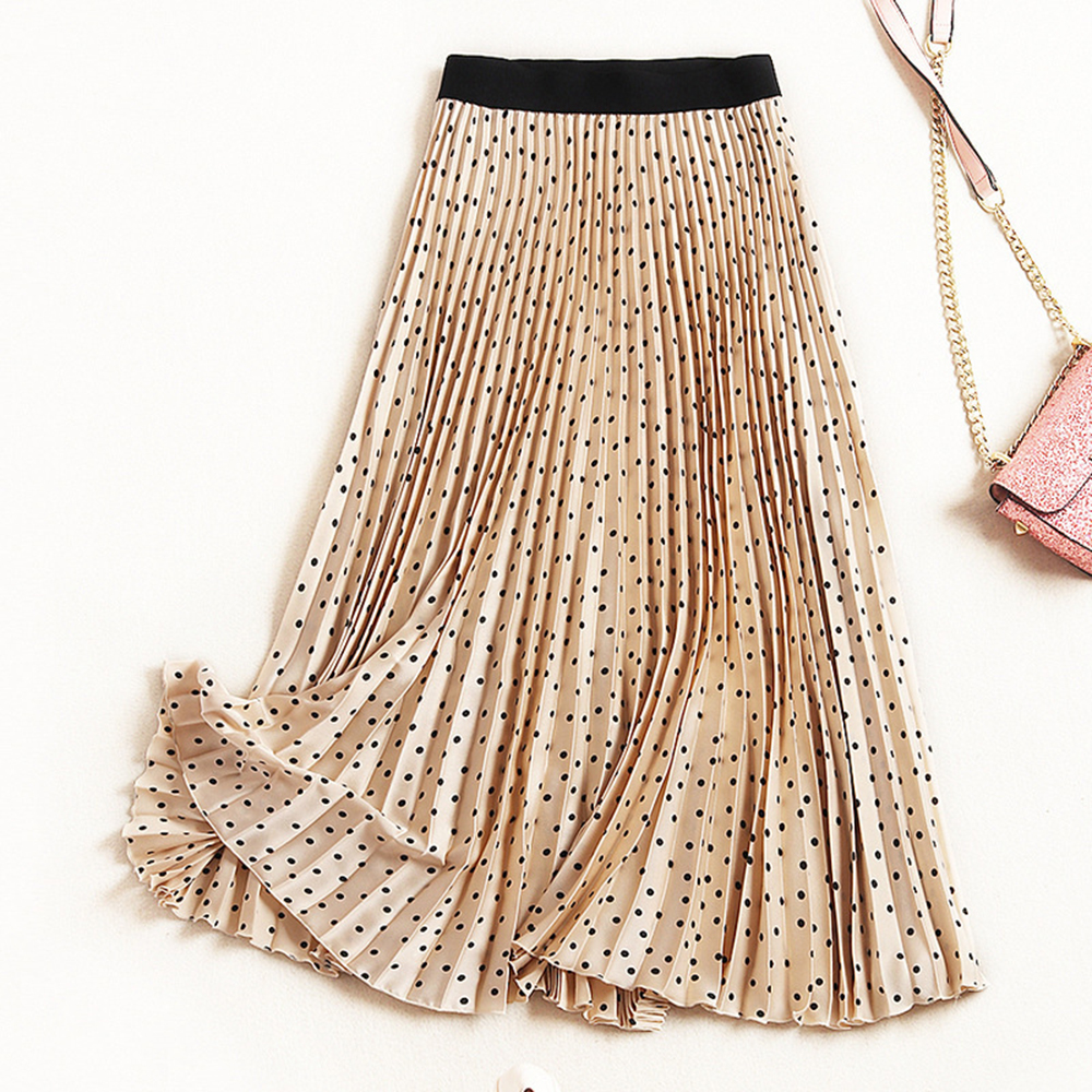 Women Long Skirts Elastic Waist Dot Pleated Maxi Skirt Beach Boho Vintage Autumn Winter High Waisted Princess Pleated Skirts