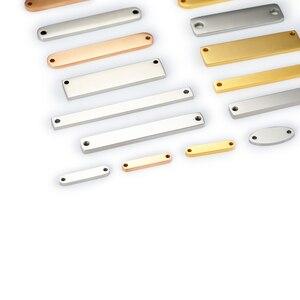 Image 3 - Mylongingcharm livre gravura 30 peças de aço inoxidável retângulo barra conectores logotipo personalizado ou design retângulo colar pingente