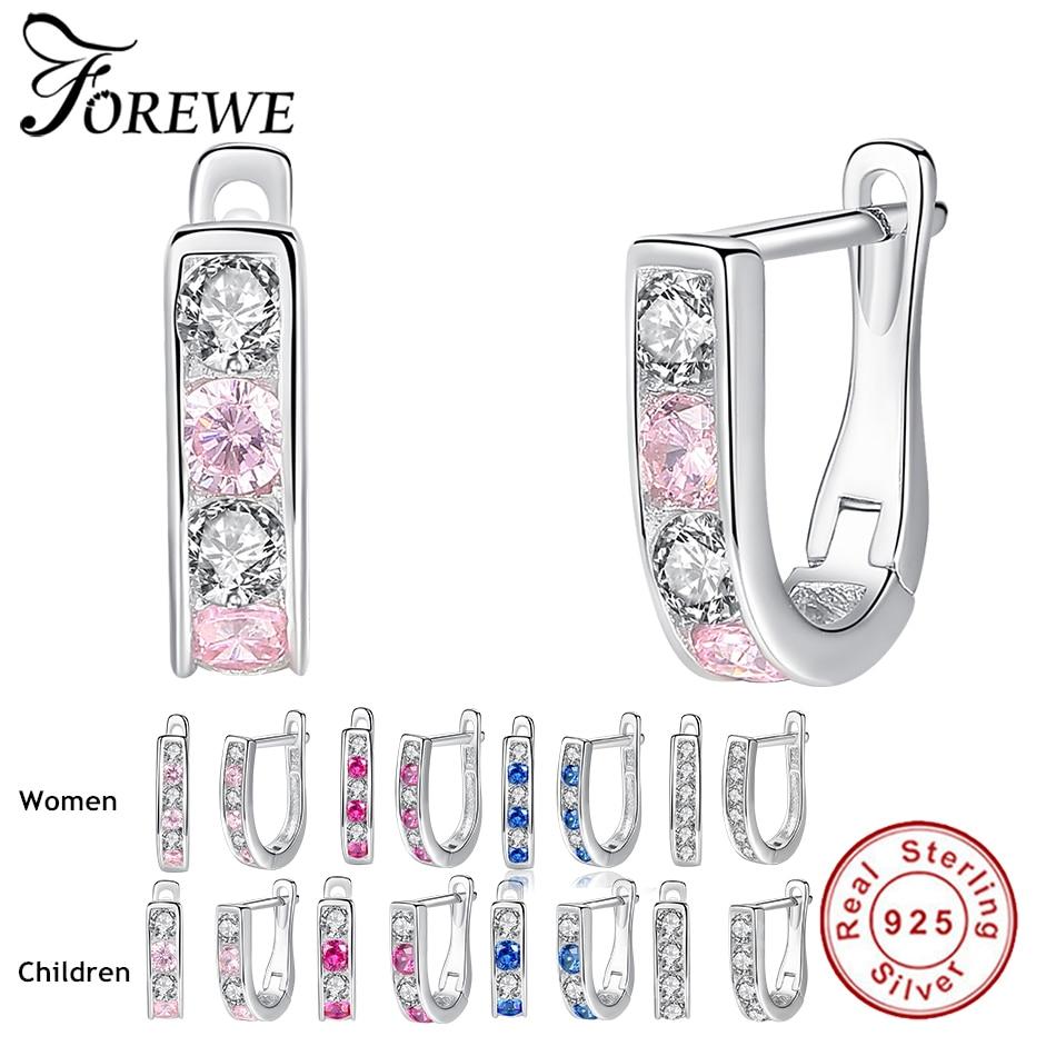 Luxury Cute Fashion Clear CZ Pink Blue Crystal Stud Earrings For Women Baby Children Girls Kids 925 Sterling Sliver Earrings