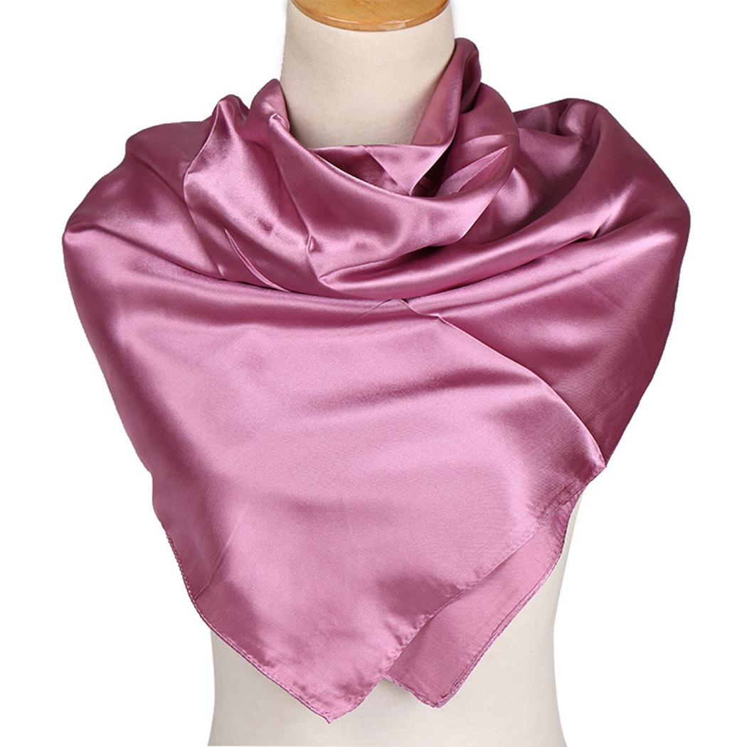 Fashion Faux Silk <font><b>90</b></font> Cent Solid Square Scarf 2019 New Solid Office Ladies Hijab Wraps And Headband Muslim Crumpled Scarves Femme image