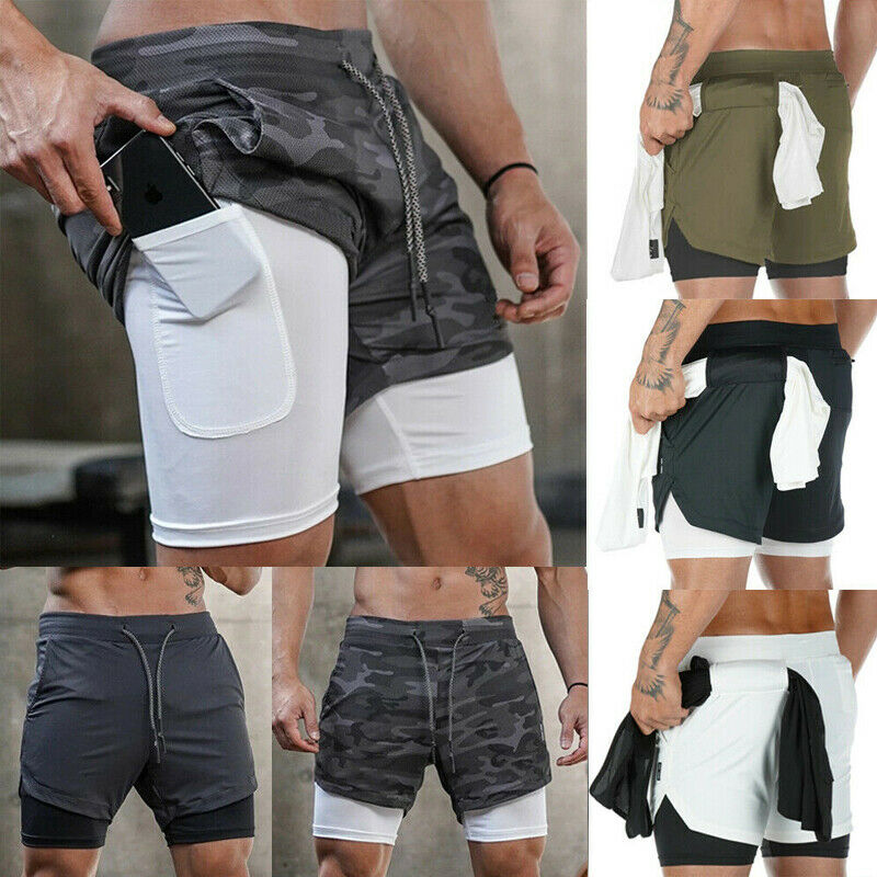 Men's Gym Running Sports Fitness Jogger Workout Double Layer Shirt Hidden-Pocket Pants