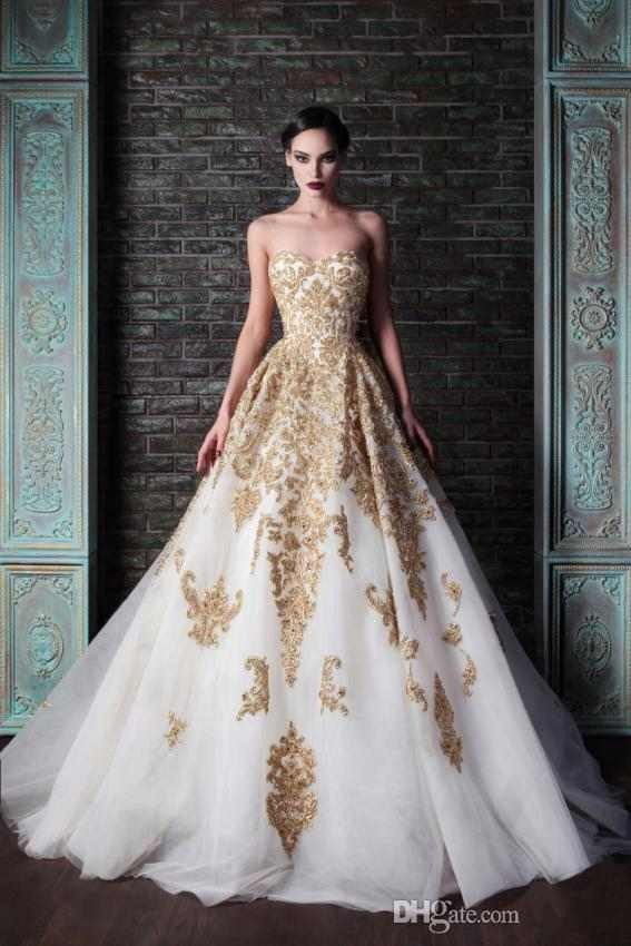 Golden Appliques Eye Catching 2014 Wedding Dresses Strapless Beads Sequined Bride Gowns A-Line Sleeveless Wedding Dress AB48