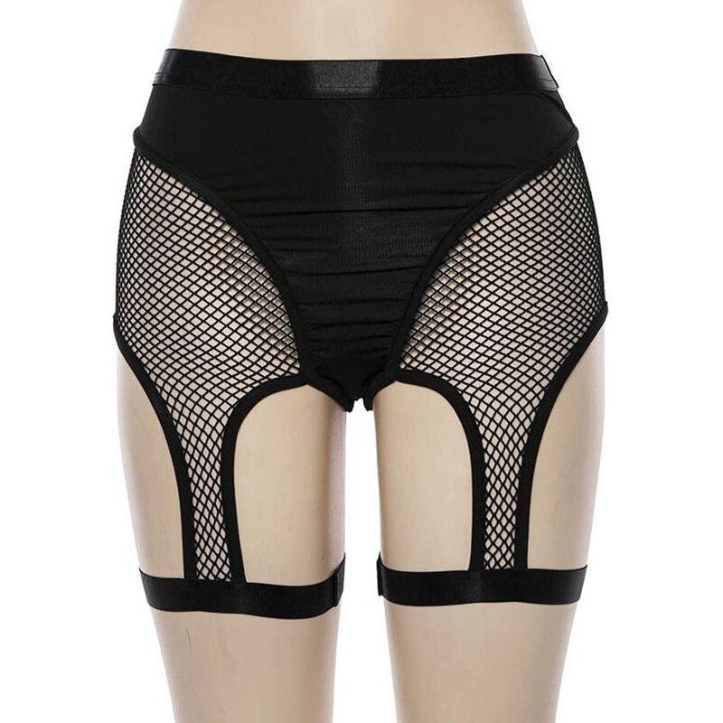 Black Spandex Mesh Shorts Women Summer Sexy High Waist Fishnet Booty Shorts Rave Festival Elastic Short Pants