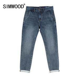 Image 1 - SIMWOOD 2020 spring winter new washed black jeans men little elastic denim trousers plus size brand clothing SI980581