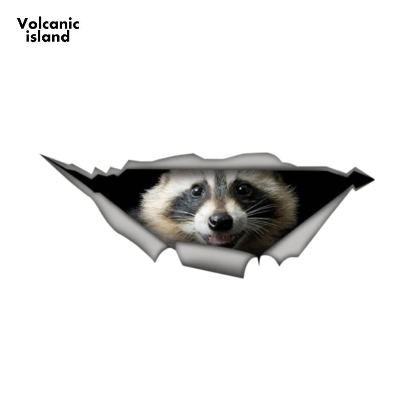 13cm x 4.8cm Raccoon car decal Laptop Decal 3D Pet Graphic Vinyl Decal Car Window Laptop Bumper Car Stickers