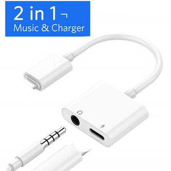 For iPhone Adapter 2 in 1 For Apple iPhone XS MAX XR X 7 8 Plus IOS 12 3.5mm Jack Earphone Adapter Aux Cable Splitter