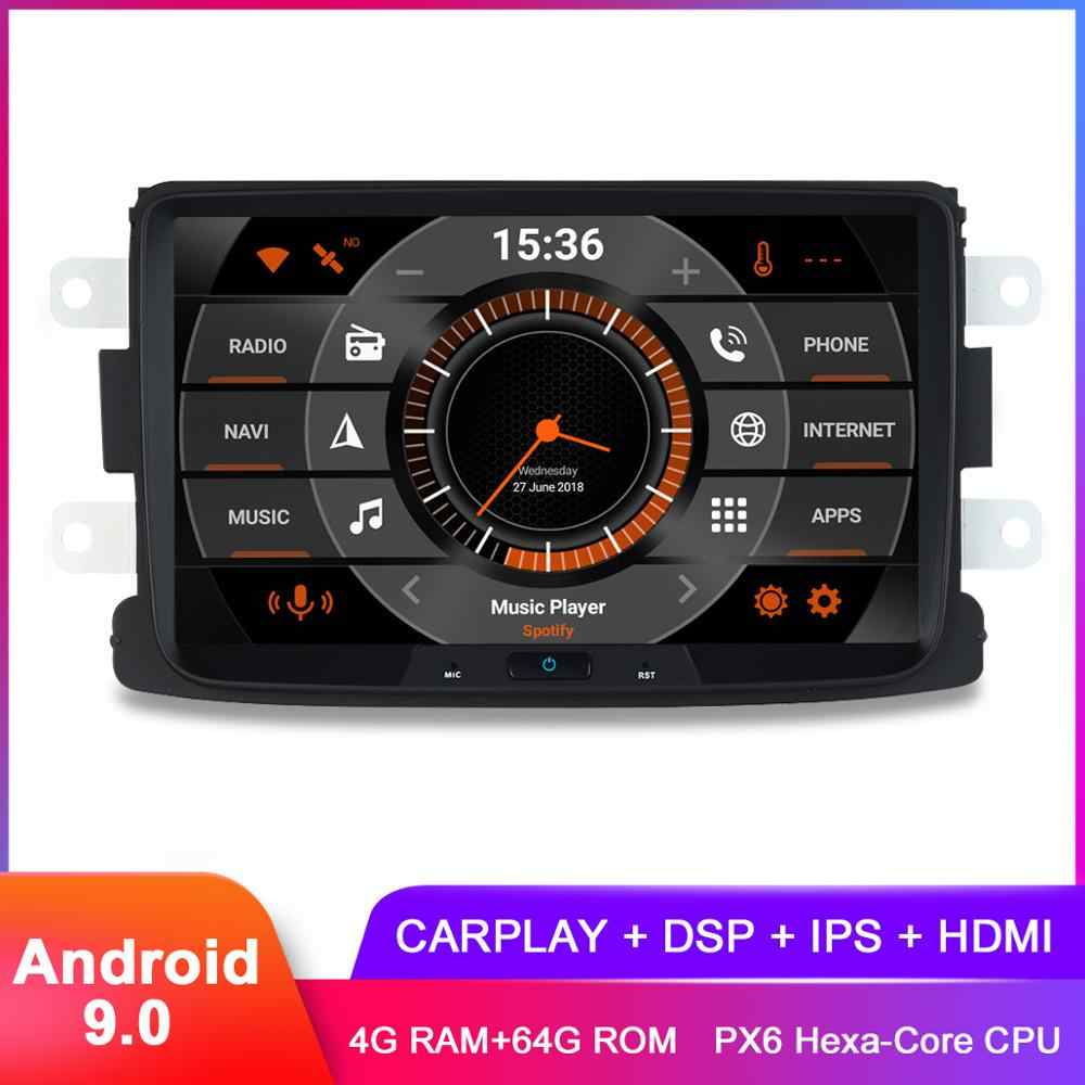 "8 ""IPS Carplay Android 9.0 Car Stereo GPS untuk Renault Duster Dacia Sandero Logan Lodgy Captur Radio Navigasi DSP audio Video"