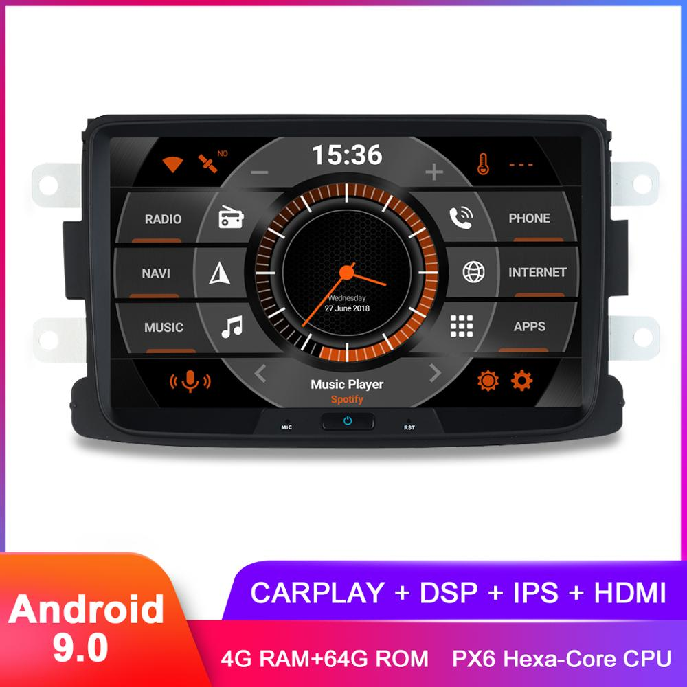 8 IPS CarPlay Android 9,0 coche GPS estéreo para Renault Duster Dacia Sandero Logan Lodgy Captur Radio navegación DSP de Audio y vídeo