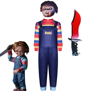 Kids Child's Play Cosplay Chucky Costume children Andy Barclay Buddi Doll Full Set cosplay costume for Halloween