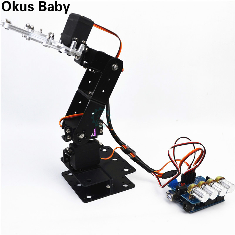 Newest SNAM5300 4dof Assembled Aluminum Alloy Four Free Robotic Arm DIY Robot Arduino Kit