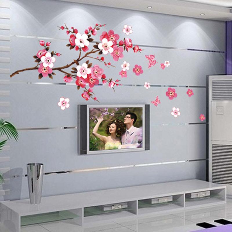 Wall Sticker Butterflies Love The Peach Blossom Wallpapers Mural Waterproof