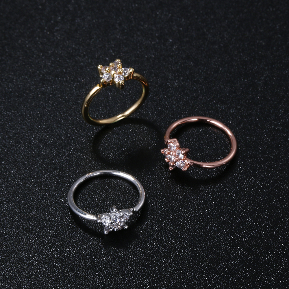 1PC Women Punk Nose Piercing Body Jewelry Gold Silver Color Cz Rhinestone Nose Ring Delicate Mini Flower Helix Cartilage