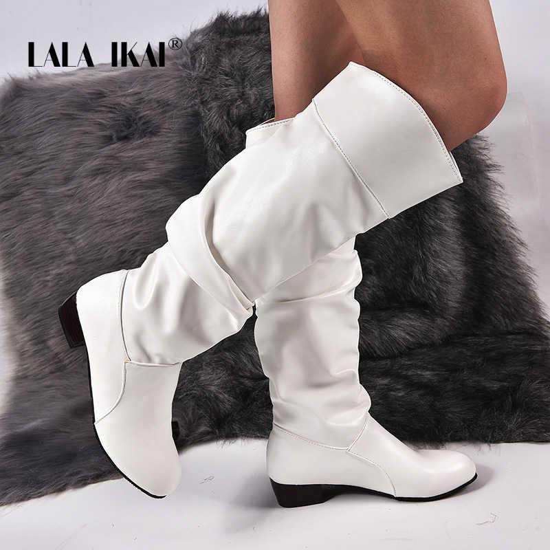 LALA IKAI Kadınlar Kış Beyaz Çizmeler PU Deri Slip-on Diz Çizmeler Kadın Seksi sıcak ayakkabı Su Geçirmez Ofis Botları XWC5394-4