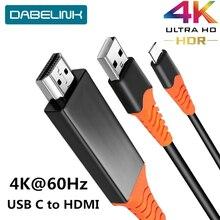USB tipo C a HDMI 4K 60Hz Cable tipo C a HDMI adaptador Thunderbolt 3 para Macbook iPad 2018 Huawei P30 P20 Pro Video USB C HDMI Cable