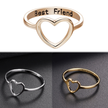 2020 New 1pc Best Friend Gift Rings Jewelry Women Friendship Promise Girl Love Heart Ring image