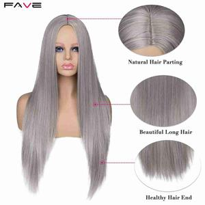 FAVE Long Straight Gray Ash Br