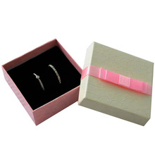 Free shipping wholesale 100pcs /lot 6.3*6.3*2.3cm Pink Box For Jewelry Ring Earring Packaging Boxes Gift Jewelry Box