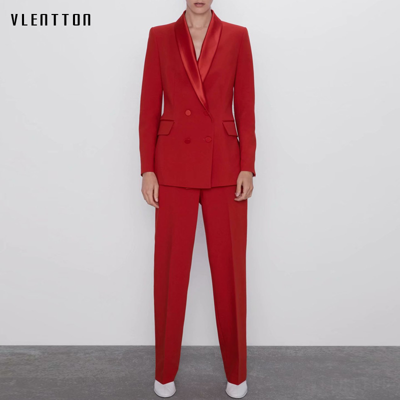 2019 Autumn Women's Pant Suit Red Elegant Double Breasted Office Lady Blazers Jacket With Zipper Trouser Female Two Pieces Set