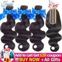 Jarin – lot de 3 mèches de cheveux naturels Remy avec fermeture en dentelle, couleur noire naturelle, 2x6, partie centrale, pour femmes