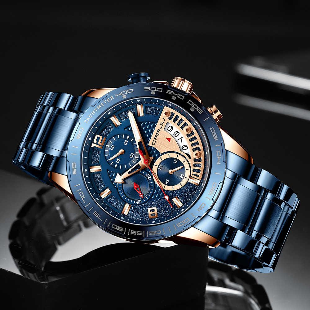 CRRJU 2020 สแตนเลสแฟชั่นหรูหราธุรกิจLuminous Chronographนาฬิกาควอตซ์Relogio Masculino
