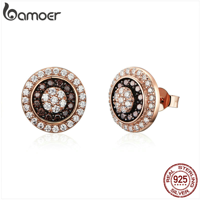 BAMOER Classic 925 Sterling Silver Round Circle Gold Color Small Stud Earrings For Women Dazzling Cubic Zircon Jewelry SCE509
