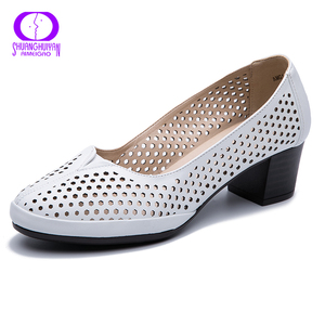 Image 4 - AIMEIGAO Autumn Spring Slip on Hollow Out Women Shoes Soft Leather Square Heels Casual Sandals Solid Women High Heels Pumps