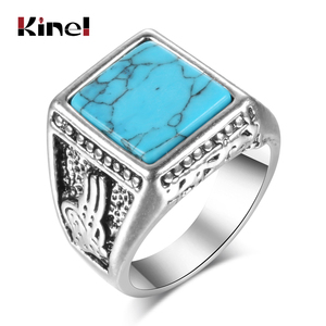 Kinel 2020 Fashion Punk Natural Stone Ring Antique Tibetan Silver Vintage Jewelry Black Finger Ring For Man Aneis Size 7-10