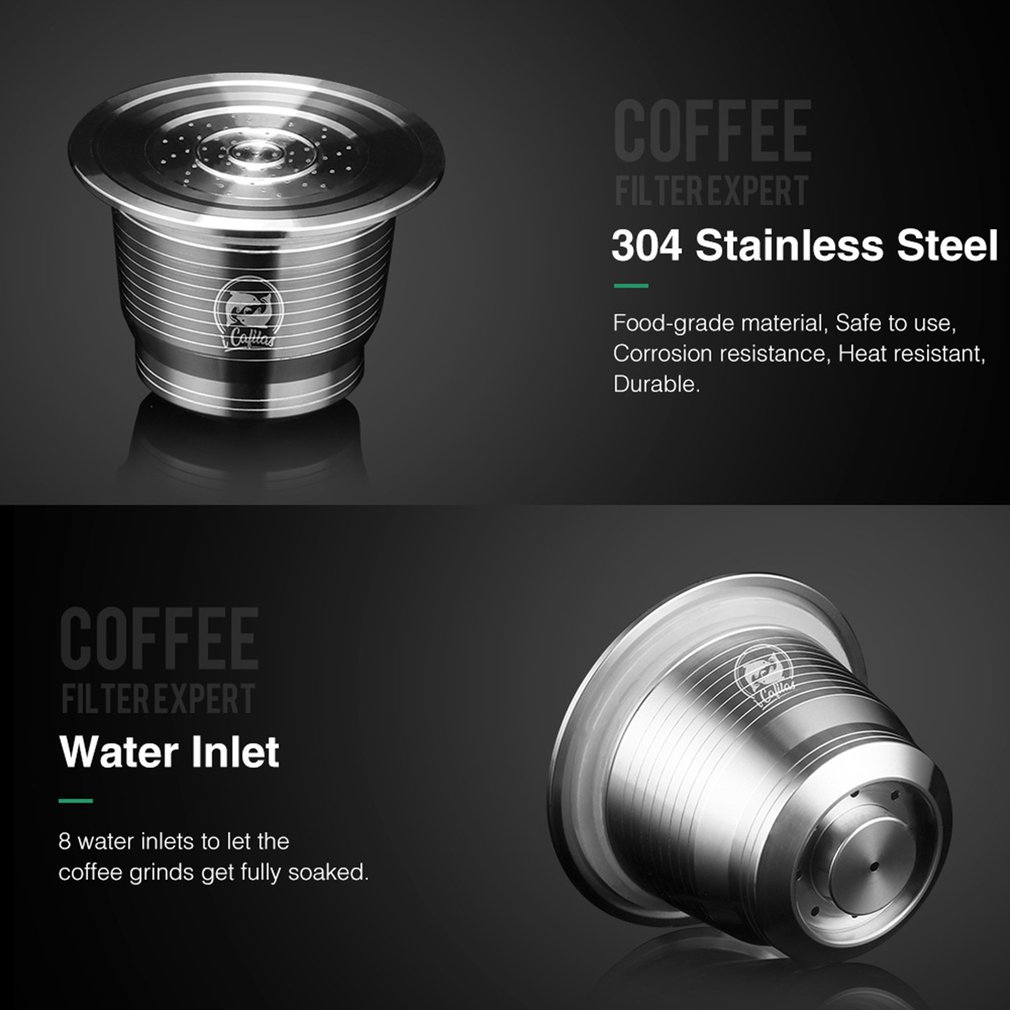 Stainless steel Refillable Coffee Capsule Pod Filter Dripper Tamper Compatible with Nespresso U Coffee Machine