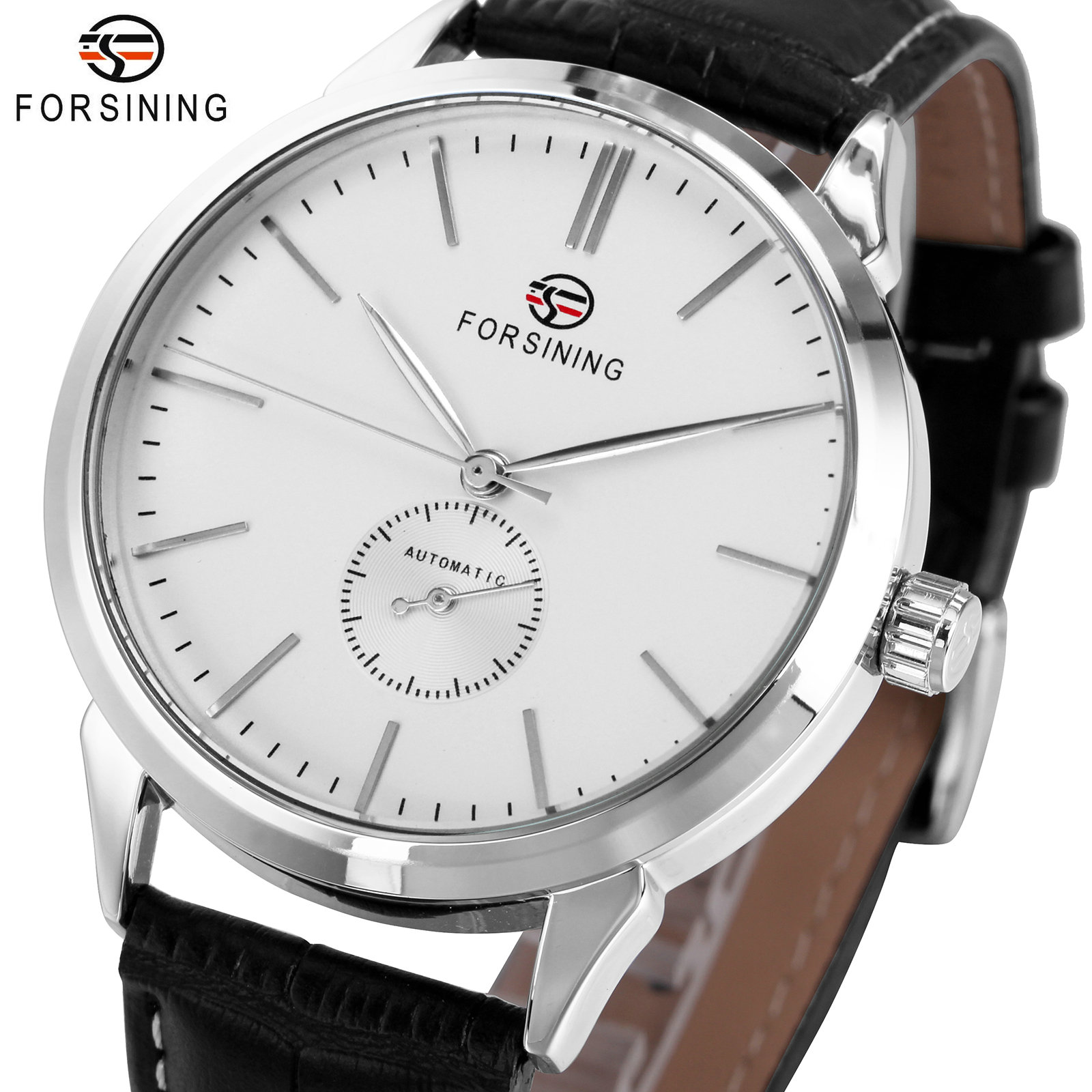 FORSINING Simple Casual Automatic Watch Men Genuine Leather Strap Fashion Dress Mens Mechanical Watches Top Brand Luxury Clock