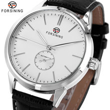 FORSINING Simple Casual Automatic Watch Men Genuine Leather