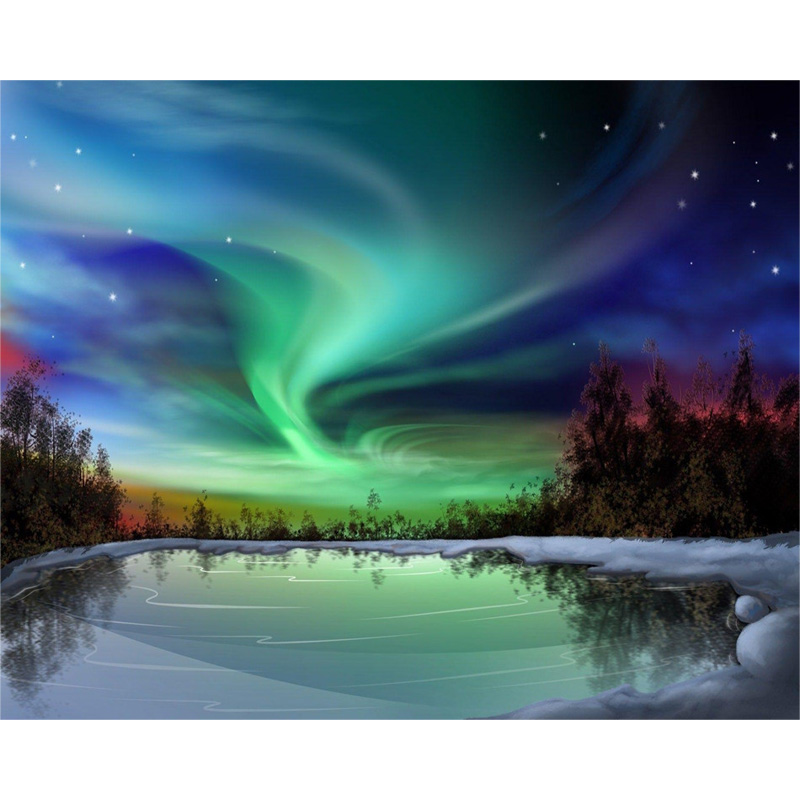 DIY Acrylic Paintings By Numbers Aurora Landscape For Paint Modern Picture Home Decor 40x50cm