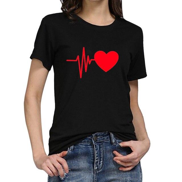 Blouse Women Vintage Shirt Fashion Women's Loose Short-sleeved Heart Prinshirt Casual O-neck Top Blusas Mujer рубашка женская 2