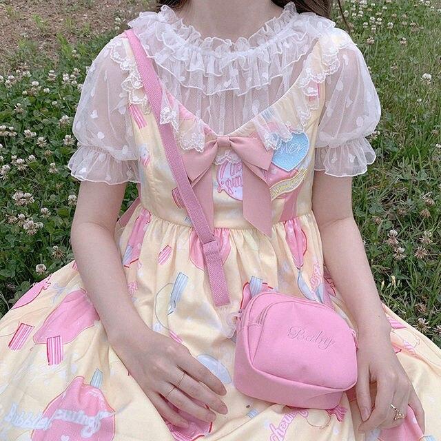 2 Color New Kawaii Lolita Lace Shirt Feamle Heart-shaped Blouse Tops Wooden Ears Mesh Short-sleeved Shirts Mujer 3